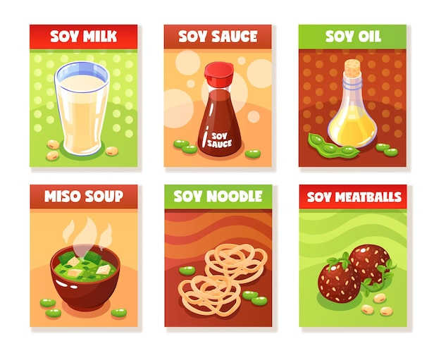 Soy food banners presenting milk sauce oil noodle meatballs miso soup products cartoon