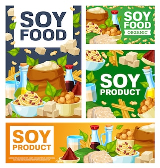 Soy food meals, organic soybean banners