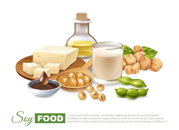 Soy food products poster with bean pods milk and meat tofu plant oil