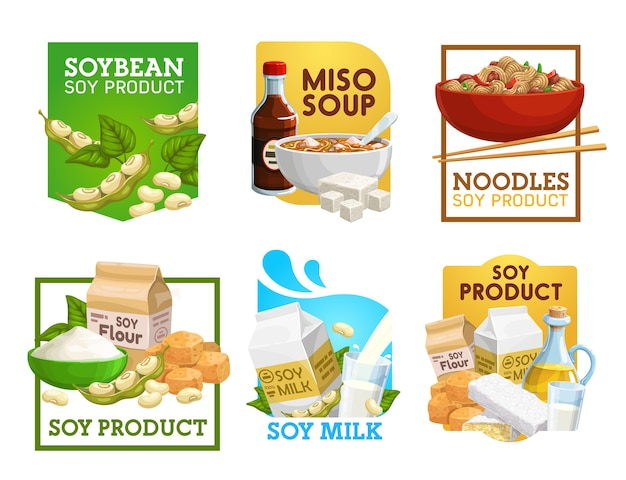 Soy food and soybean products vector icons.