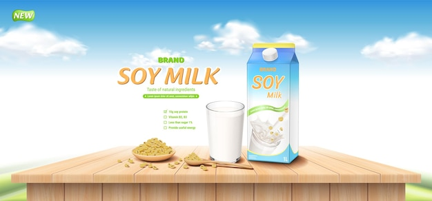 Soy milk ad with wooden cup spoon soy beans and glass on wooden table