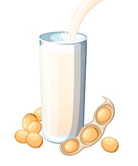 Soy milk pouring in drinking glass. soybean