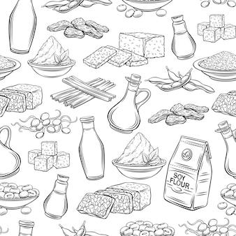 大豆製品の輪郭のシームレスなパターン。描かれたモノクロの大豆もやし、豆腐の皮、凝固した豆乳、大豆、テンペ、味噌、小麦粉などの背景。