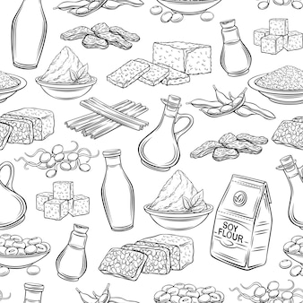 Soy product outline seamless pattern. background with drawn monochrome soy sprouts, tofu skin, coagulated soy milk, soybean, tempeh, miso, flour and ets.