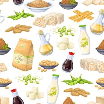 大豆製品のシームレスなパターン、ベクトルイラスト。大豆もやし、豆腐皮、凝固豆乳、大豆、テンペ、味噌、小麦粉などの背景。