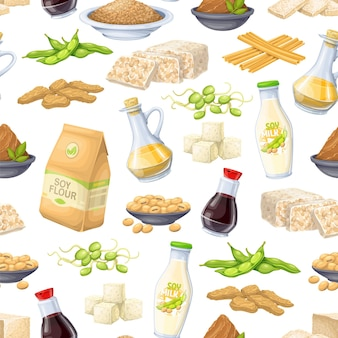 Soy product seamless pattern, vector illustration. background with soy sprouts, tofu skin, coagulated soy milk, soybean, tempeh, miso, flour and ets.