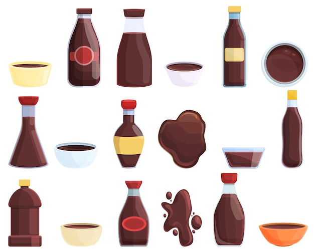 醤油アイコンを設定します。 webデザインの醤油ベクトルアイコンの漫画セット