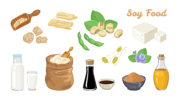 Soybean food set.