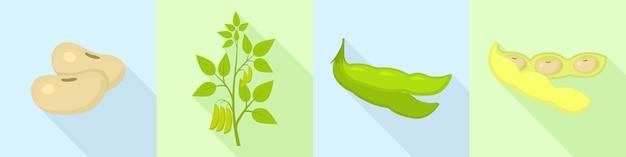 Soybean icons set, flat style