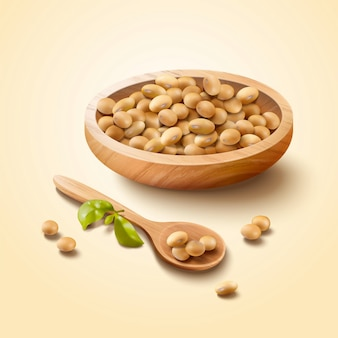 Soybean in wooden bowl and spoon in 3d illustration
