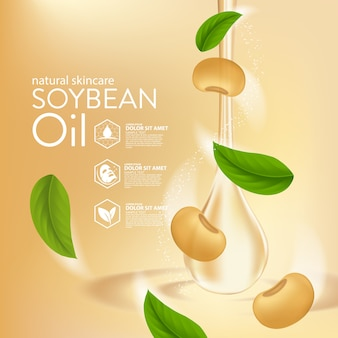 Soybeans oil serum natural skin care cosmetic. moisture essence