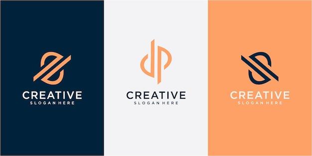 Sp 편지 로고 디자인 및 라운드 프레임 벡터 일러스트 편지 dp 로고 디자인 컨셉