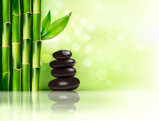 Спа фон с бамбуком и камнями