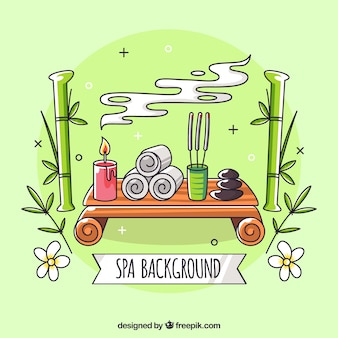 Spa background with candles and aromatic oils