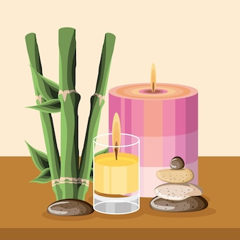 Spa bamboo candles stones