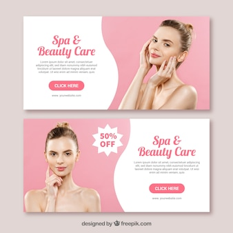 Spa banners collection with different treatments
