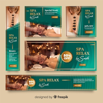 Spa banners collection with photo
