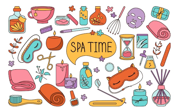 Spa and beauty care salon doodle colorful set skin care and natural treatment me time concept