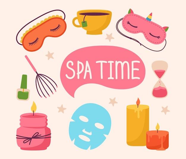 Spa and beauty care salon stickers cartoon set aromatic candle sleep mask skin care me time