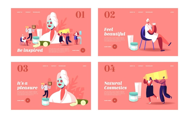 Spa, beauty and cosmetology landing page template set. tiny characters at huge woman with facial mask, cucumber slices and cream jars. face skin care and treatment. cartoon people vector illustration