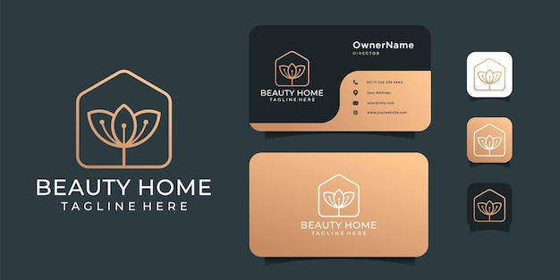 Spa beauty home golden logo design   set.
