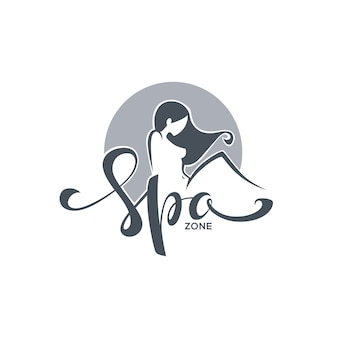 Spa and beauty, logo with image of girl and lettering composition