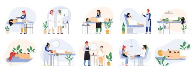 Спа салон красоты велнес массажные услуги процедурные услуги. рабочие и посетители салона красоты оздоровительный набор векторные иллюстрации. массаж, обертывания, процедуры по уходу за лицом