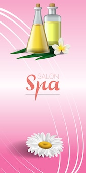Spa brochure design with chamomile, white tropical flower and massage oil
