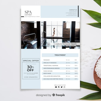 Spa brochure template with photo