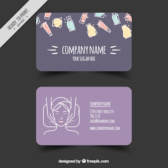 Spa card with sketches of elements