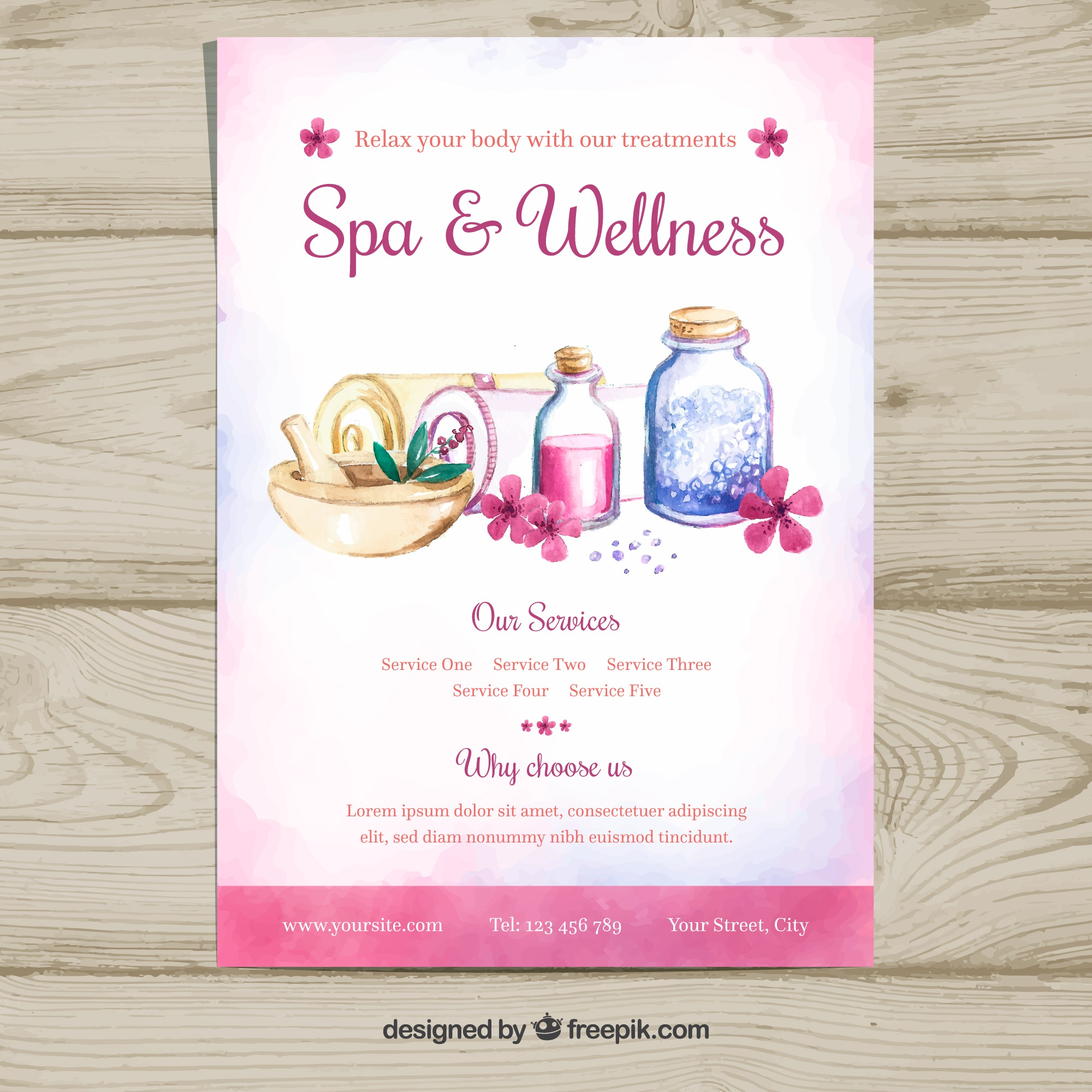 Spa center flyer template with products