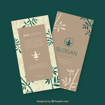 Spa center flyer with bamboo in flat style Free Vector