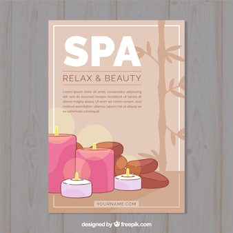 Spa center flyer with candles and stones in flat style