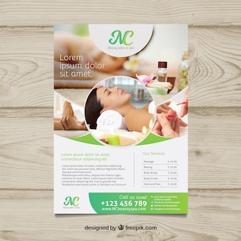 Spa center flyer with different treatments to relaxing Premium Vector
