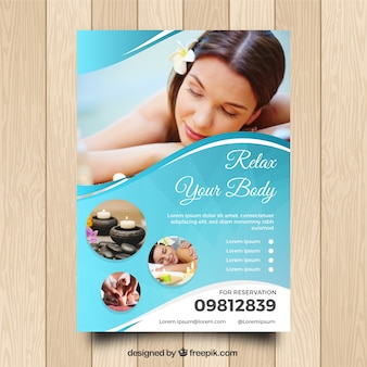 Spa center flyer with different treatments to relaxing
