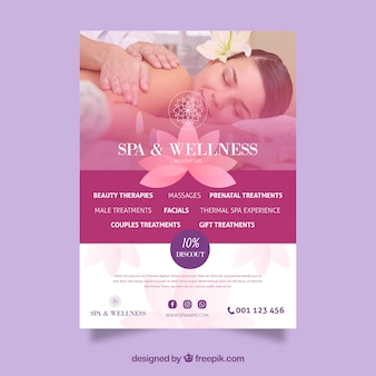 Spa center flyer with discount in flat style
