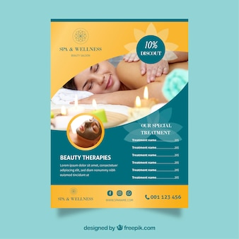 Spa center flyer with prices in flat style