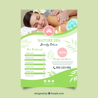 Spa center flyer with treatments in flat style