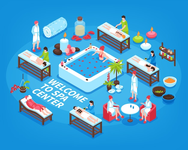 Spa center isometric illustration