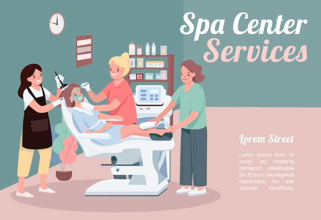 Spa center services banner flat template. brochure, poster concept design with cartoon characters. facial skincare treatment. beauty salon horizontal flyer, leaflet with place for text