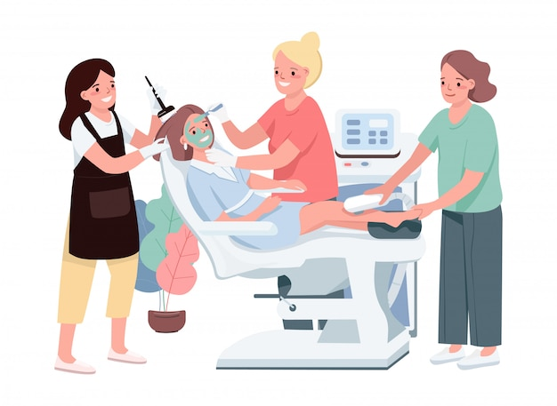 Spa  color  characters. young caucasian woman getting cosmetic treatment. female applying green mask. laser depilation. hair coloring. beauty salon procedure isolated cartoon illustration
