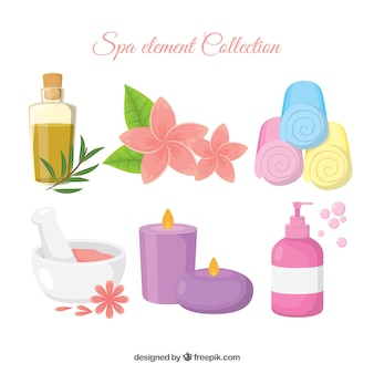 Spa element collection in flat design
