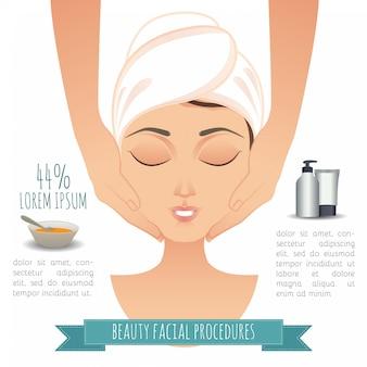 Спа для лица инфографики. иллюстрация красивая женщина делает массаж лица.