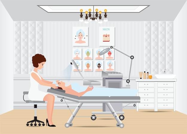 Spa facial massage treatment .