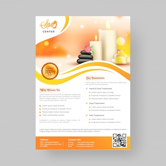 Spa flyer template or advertising poster.