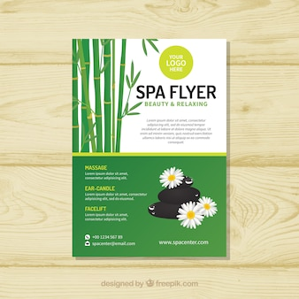 Spa flyer template with flat design