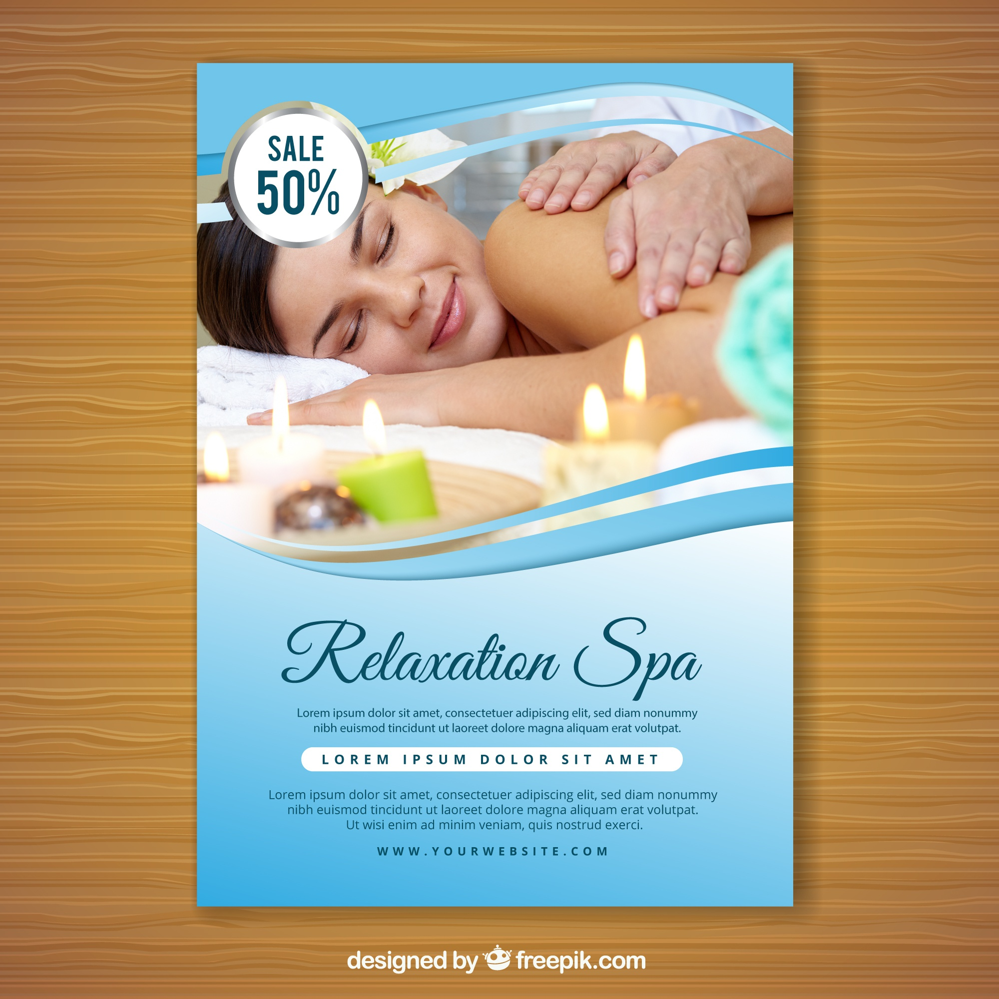Spa flyer with a photo