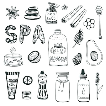 Spa hand dawn collection. beauty icon set