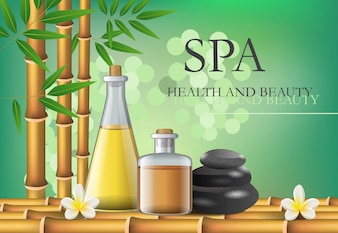 Spa, health and beauty lettering with accessories composition.