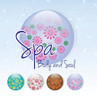 Spa icons over light background vector illustration